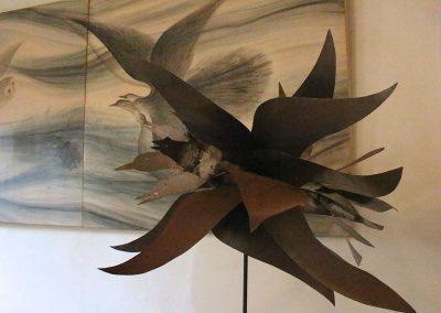 Detail Vogelflug (Objekt aus Eisenblech)