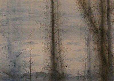 Winterliche Baumstämme